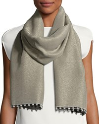 Bajra Reversible Metallic Pompom Scarf Gray