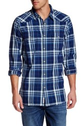 Lucky Brand Santa Fe Plaid Long Sleeve Western Regular Fit Shirt Blue