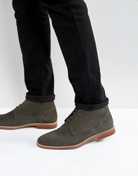 Asos Lace Up Boots In Gray Suede With Contrast Sole Gray
