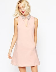 Asos Embellished Collar Scuba Shift Mini Dress Nude