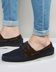 New Look Leather Boat Shoe In Navy Navy