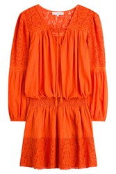 Christophe Sauvat Cotton Dress With Lace Orange