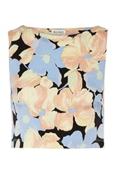 Suno Cropped Stretch Silk Crepe Top Yellow
