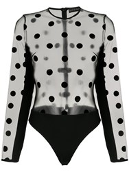 David Koma Polka Dot Sheer Bodie Black
