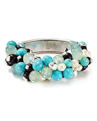 Robert Lee Morris Soho Cluster Beaded Stretch Bangle Turquoise Silver