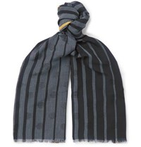 Paul Smith Fringed Striped Wool Blend Jacquard Scarf Blue