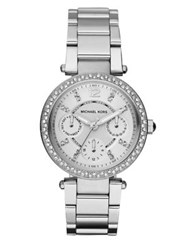 Michael Kors Parker Pave Stainless Steel Chronograph Bracelet Watch Silver