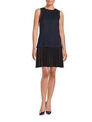 Rebecca Taylor Pleated Lace Dress Navy