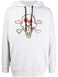 Palm Angels Ice Cream Skull Print Hoodie Grey
