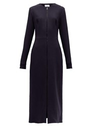 Raey Zip Front Wool Crepe Midi Dress Navy