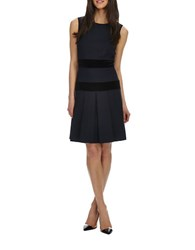 Donna Morgan Velvet Striped Dropped Waist Dress Midnight