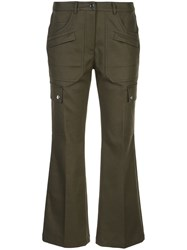 Michael Kors Collection Flared Cropped Trousers Green