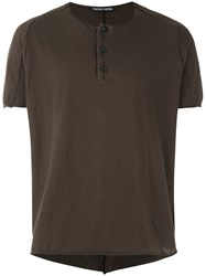 Hannes Roether Henley T Shirt Men Cotton Wool L Brown
