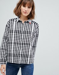 Maison Scotch Boxy Fit Classic Checked Shirt 20 Combo D Black