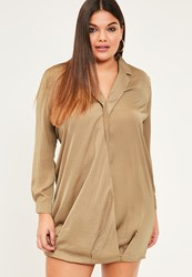 Missguided Plus Size Nude Wrap Over Shirt Dress Brown