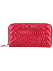 Bulgari Zip Around Wallet Red
