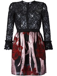 Christian Pellizzari Floral Lace Mini Dress Black
