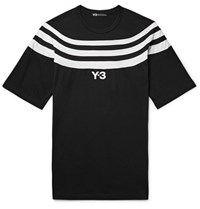 Y 3 Slim Fit Striped Cotton Jersey T Shirt Black
