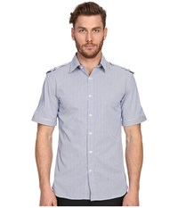 Balmain Military Button Up Shirt Royal Blue Men's Short Sleeve Button Up