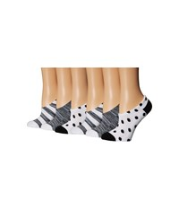 Converse 6 Pack Made For Chucks Space Dye Stripes And Dots White Black Women's No Show Socks Shoes
