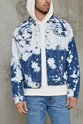 Forever 21 Bleach Dye Denim Jacket Blue Light Denim