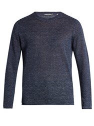 Vince Rolled Edge Knitted Linen Sweater Navy