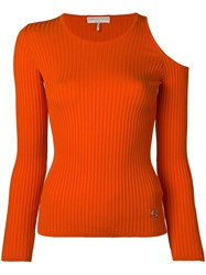 Emilio Pucci Knit Top With Shoulder Cut Outs Orange