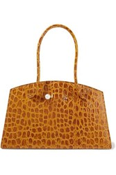 Little Liffner Faux Pearl Embellished Croc Effect Leather Tote Mustard
