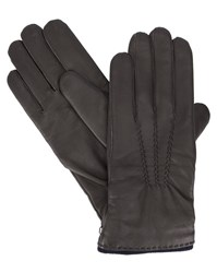 Hackett Brown Leather Cashmere Lined Gloves