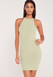 Missguided Carli Bybel Ribbed Square Neck Bodycon Dress Green Green