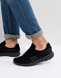Asos Sneakers In Black Faux Suede With Woven Detail Black