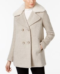 Inc International Concepts Faux Fur Trim Peacoat Created For Macy's Heather Taupe
