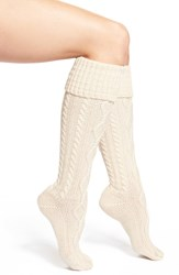 Free People Cable Knit Knee High Socks Ivory