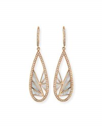 Frederic Sage Venus Sliced Mother Of Pearl Drop Earrings With Diamonds In 18K Pink Gold