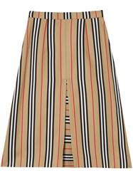Burberry Box Pleat Detail Icon Stripe A Line Skirt Brown