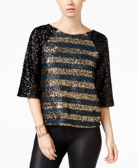 Chelsea Sky Elbow Sleeve Sequin Top Only At Macy's Black Gold