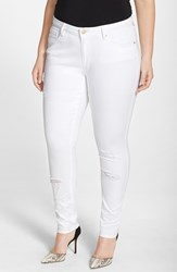 Poetic Justice Plus Size Women's 'Maya' Destroyed White Skinny Jeans