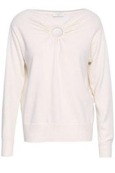 Sandro Cutout Wool And Cashmere Blend Sweater Ivory
