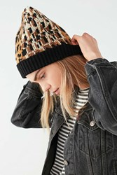 Urban Outfitters Graphic Leopard Intarsia Beanie Neutral Multi