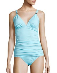 Tommy Bahama Pearl Solids Ruched Tankini Top Blue