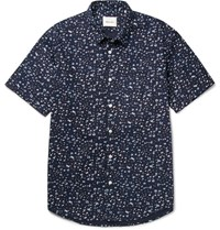 Steven Alan Printed Cotton Poplin Shirt Navy