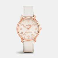 Coach Delancey Rose Gold Tone Sunray Dial Leather Strap Watch Chalk