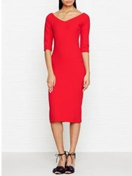 Reiss Aimee Jersey Off The Shoulder Dress Red