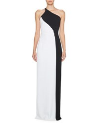 Stella Mccartney Colorblock One Shoulder Gown Black White Black White