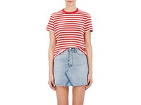 Re Done Women's Striped Cotton T Shirt Red