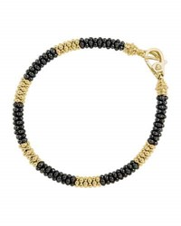 Lagos Black Caviar And 18K Gold Rope Bracelet