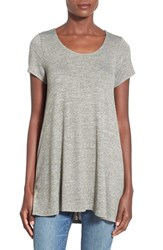 Junior Women's Sun And Shadow Long Knit Swing Tee Grey Sedona