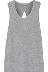Monrow Knotted Cutout Stretch Jersey Tank Gray