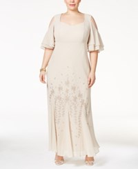 R And M Richards Plus Size Embellished Off The Shoulder Gown Champagne