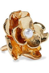 Kenneth Jay Lane Woman Gold Tone Faux Pearl Ring Gold